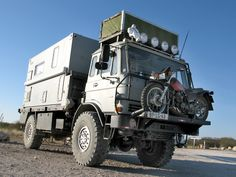 I like the motorcycle carrier :D Expedition Trailer, Expedition Vehicle, Adventure Campers, Off Road Adventure, General Motors, Motorcycle Carrier, Extreme 4x4, Overland Truck, 4x4 Van
