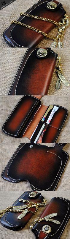 Handmade leather biker trucker wallet leather chain men Tan Coffee