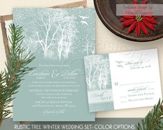 Winter Wedding Invitation Trees and snowflakes  by NotedOccasions