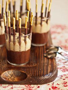 Pocky Chocolate Cage: Chocolate Cream + Banana Mousse dessert recipe, via ribbon & circus