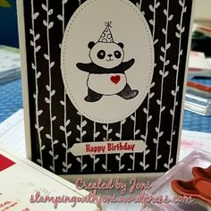 Birthday card www.stampingwithjoni.wordpress.com #stampinup #reddoorcrafters #inkyfingers #partypanda #birthday #cards