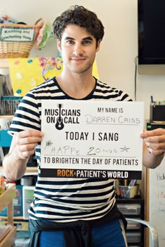 "Darren visits the UCLA Medical Center with ""Musicians On Call"" ♥"