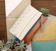 Boho Tassel Clutch in Cream Tribal Ikat Print with by kailochic - get it as a cross body bag or wristlet