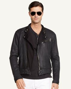 French Terry Moto Jacket - Black Label Lightweight & Quilted  - RalphLauren.com