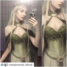 #Repost @mariaamanda_official Modeling the Elven Bridal Gown from our Etsy store (link in profile) ・・・ Model life; Dressing up in public bath rooms. Modeling for @fireflypath and #amonseuldesir.