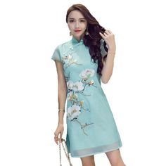 Chinese Style Women's Clothing Elegant Ladies Temperament Flowers Embroidery Fashion Daily Improvement Cheongsam Girl Dresses