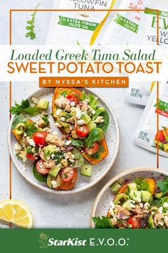 So much love for this Loaded Greek Tuna Salad Sweet Potato Toast recipe. It's made with StarKist E.V.O.O. Wild Caught Yellowfin Tuna, sweet potatoes and tons of fresh produce, to provide your body with lean protein and omega 3s. Diner Recipes, Seafood Recipes, Appetizer Recipes, Cooking Recipes, Tuna Recipes, Ww Recipes, Appetizers, Sweet Potato Toast, Sweet Potato Recipes
