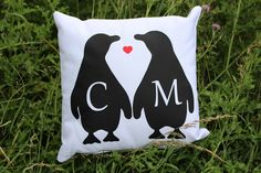 Check out our 'love bird' penguin cushion from the 'Be Cosy' collection, personalised with the initals of you and that special someone. A thoughtful and sentimental gift for another, or a cute addition to your home, great to snuggle with on those cosy nights.   The cushion measures 40cm x 40cm   100% Cotton