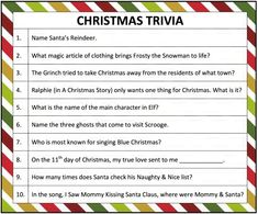 This free printable Christmas trivia game is perfect for both adults and kids. How many of these 10 questions can you answer correctly? Good Luck!