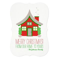 Cute Red and Green Cottage Christmas Greeting: Merry Christmas holiday card. Available for purchase on Zazzle!