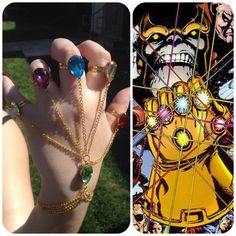 Infinity Gauntlet Handchain -- The Avengers Inspired -- Marvel Inspired -- Thanos -- Infinity Gems -- Cosplay -- ORIGINAL by BeeesBeads on Etsy https://www.etsy.com/listing/185716996/infinity-gauntlet-handchain-the-avengers