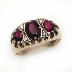 Fine Vintage Gold 3 Stone Ring set with Garnet and by celticfinds, $129.00