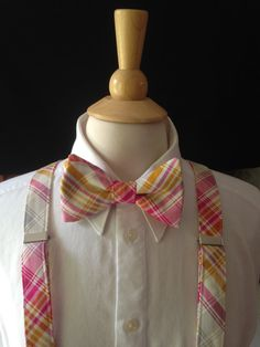 Plaid Bow Tie And Suspender Set / Pink by CarolynnRedwineGeer