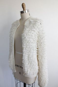 Vintage 70s White Shag Knit Cardigan Sweater small by vauxvintage