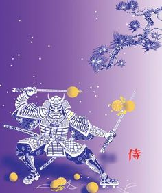 Samurai with Oranges  part of a triptic for a childrens story.  One of mine,  a Japanese inspired print.  TB