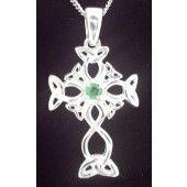 """14K White Gold Emerald Irish """"Celtic Knot"""" Pendant"""