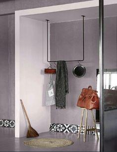 Tadelakt gris / blanc et carreaux de ciment