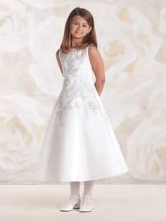 Plus Size First Communion Dress with Metallic Lace Appliqué from Catholic Faith Store (8.5 Tea Length, White)
