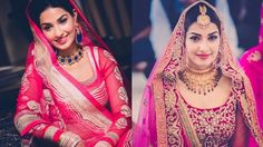"Left: Photography by Girl in Pink, Right: Photography by Bhumi & Simran ""Show me anything EXCEPT a red lehenga"" is one of the most commonly heard statements at any Bridal store these days. We totally get why though- there is something fresh and girly about a soft pink, something mo"