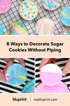 8 Fun Ways to Decorate Sugar Cookies Without Piping No Bake Cookies, Sugar Cookies, Royal Icing Decorations, Piping Tips, Baking Ideas, Happy Day, Cookie Decorating, Dip, Biscuits