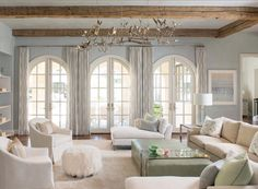 Traditional style living room decor with french country style decor and white sectional sofa French Living Rooms, Living Room White, White Rooms, Living Room Decor, French Bedrooms, French Style Sofa, French Country Style, European House Plans, New House Plans