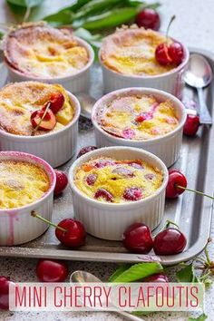 Mini Cherry Clafoutis - Happy Foods Tube An easy recipe for mini cherry clafoutis. These individual mini desserts are simple to put together and taste like summer. Cherry clafoutis is a French dessert recipe made with cherries. Mini Desserts, French Dessert Recipes, Desserts For A Crowd, Chocolate Desserts, Just Desserts, Delicious Desserts, Dessert Healthy, Chocolate Decorations, French Recipes