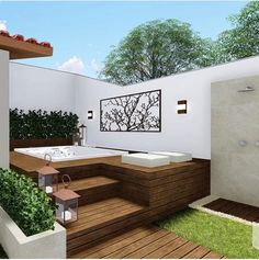 Beautiful corner to relax! House Design, Hot Tub Backyard, Terrace Design, Outdoor Living Design, Backyard Decor, Small Pool Design, Pool Houses, Outdoor Design, Backyard Inspo