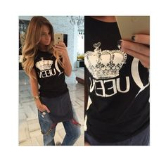 Hot Sale 2015 woman clothes Queen letter print t shirts summer short sleeve tshirt ladies fitness harajuku white black top tees