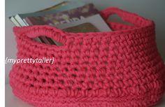 Cesto rosa de Trapillo {myprettytaller} Crochet https://myprettytaller.com/