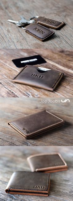 Here is a small sampling of handmade leather products from JooJoobs.  From the top down, we have their personalized padded keychain, minimalist front pocket wallet, passport wallet and the personalized mens leather bifold wallet. Visit JooJoobs and find an awesome gift idea.