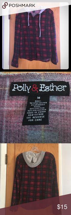 FINAL PRICE - Printed Plaid Button Up Hoodie Printed Plaid Button Up Hoodie - Polly & Ester - Size M Polly & Esther Tops Sweatshirts & Hoodies