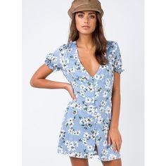 Blue Bird Mini Dress (75 AUD) ❤ liked on Polyvore featuring dresses, blue, mini dress, short dresses, blue day dress, blue mini dress and short blue dress