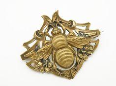 Vintage Antique Brass Art Nouveau Bumble Bee by prairierosejewels, $49.99