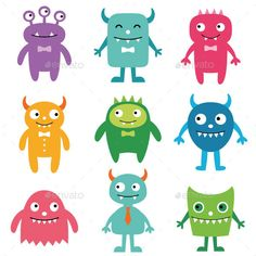 Friendly Monsters Set by lattesmile Friendly monsters vector set.Vector EPS file and high resolution JPEG included.