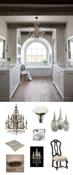 Same setup , faucet style traditional, cabinet style. Free standing tub. Use pivot mirrors and sconces.