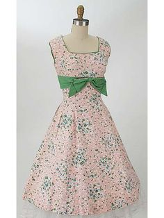 50's Pink Floral Pique Princess Style Garden Party Dress