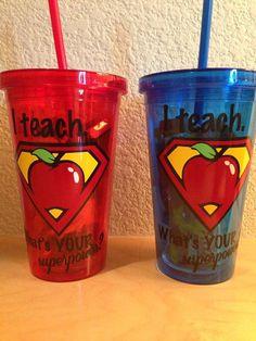 I Teach Whats Your SuperPower Teacher Tumbler by NowThatsAGoodIdea