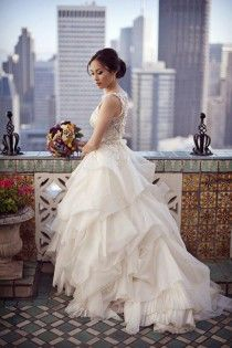 Chic Special Design Wedding Dress ♥ Veluz Reyes Asymmetric Layered Skirt Ball Gown Style Wedding Dress