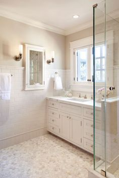 Greige Paint Colors, Traditional, bathroom, Benjamin Moore Edgecomb Gray, ScavulloDesign Interiors and atrium white White Master Bathroom, White Bathroom Cabinets, Bathroom Windows, Bathroom Renos, Small Bathroom, Bathroom Marble, Cream Bathroom, Bathroom Ideas, Bathroom Modern