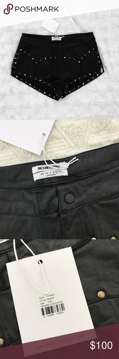 BNWT one teaspoon black leather shorts BNWT Free People Shorts