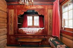 Mountain cabin alcove bed in Norway Alcove Bed, Bed Nook, Built In Bed, Built Ins, Norwegian House, Sleeping Nook, Bed In Closet, Box Bed, Cabins And Cottages