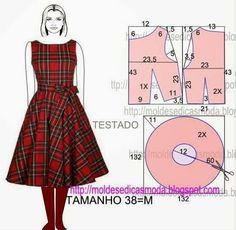 Vestido pin up falda plato completa