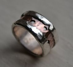 rustic fine silver and copper ring  handmade by MaggiDesigns, $265.00