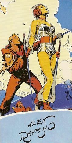 Flash Gordon and Dale Arden by Alex Raymond, Spaceship, spacesuit raygun astronaut pulp retro futurism back to the future tomorrow tomorrowland space planet age sci-fi airship steampunk dieselpunk alien aliens martian martians BEMs BEM's