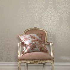 damask wall with French Provincial furniture.