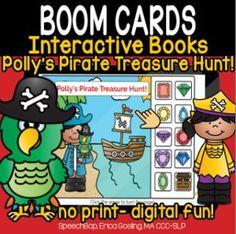 Boom Cards - Speechbop Receptive Language, Descriptive Words, Sentence Starters, Pirate Treasure, Speech Therapy, Special Education, Pirates, Distance, Books