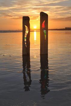 Sunset on Shoreham Beach UK: 'Bending Bubbles' & 'Bending Light'