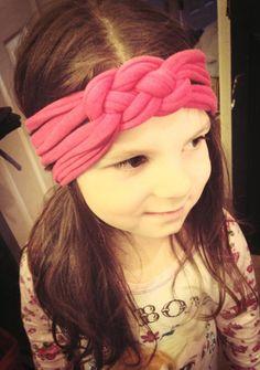 Vanessa modeling the new headband her mom made.
