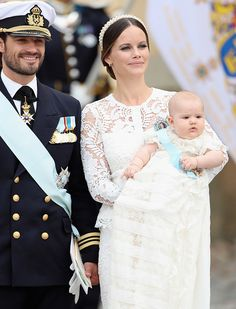 Prince Carl Philip and Princess Sofia and their son Prince Alexander at his christening, September 2016