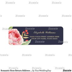 Romantic Rose Return Address Labels Romantic Pink Rose Watercolor Painting Design Personalized Return Address Labels. Matching Wedding Invitations, Bridal Shower Invitations, Save the Date Cards, Wedding Postage Stamps, Bridesmaid To Be Request Cards, Thank You Cards and other Wedding Stationery and Wedding Gift Products available in the Floral Design Category of our Store.